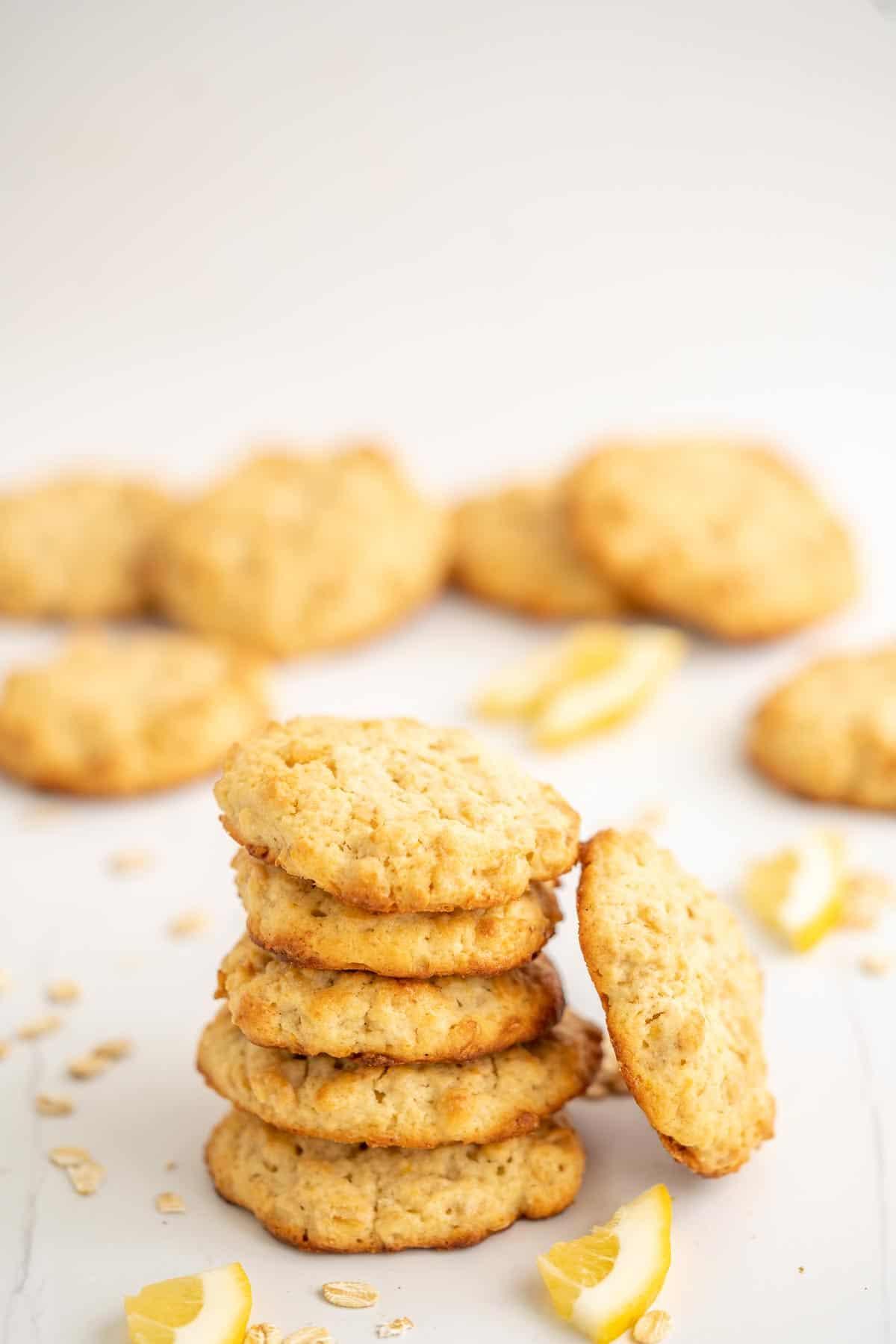 A stack of 5 lemon oatmeal cookies.