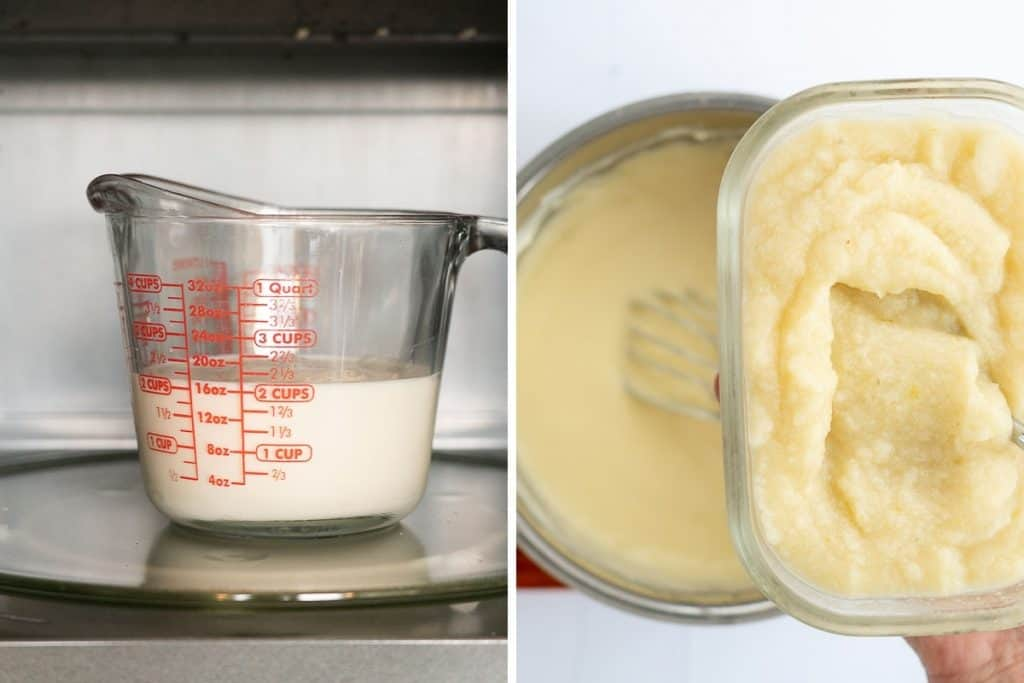 Two photo collage of milk in a jug inside a microwave and cauliflower purée
