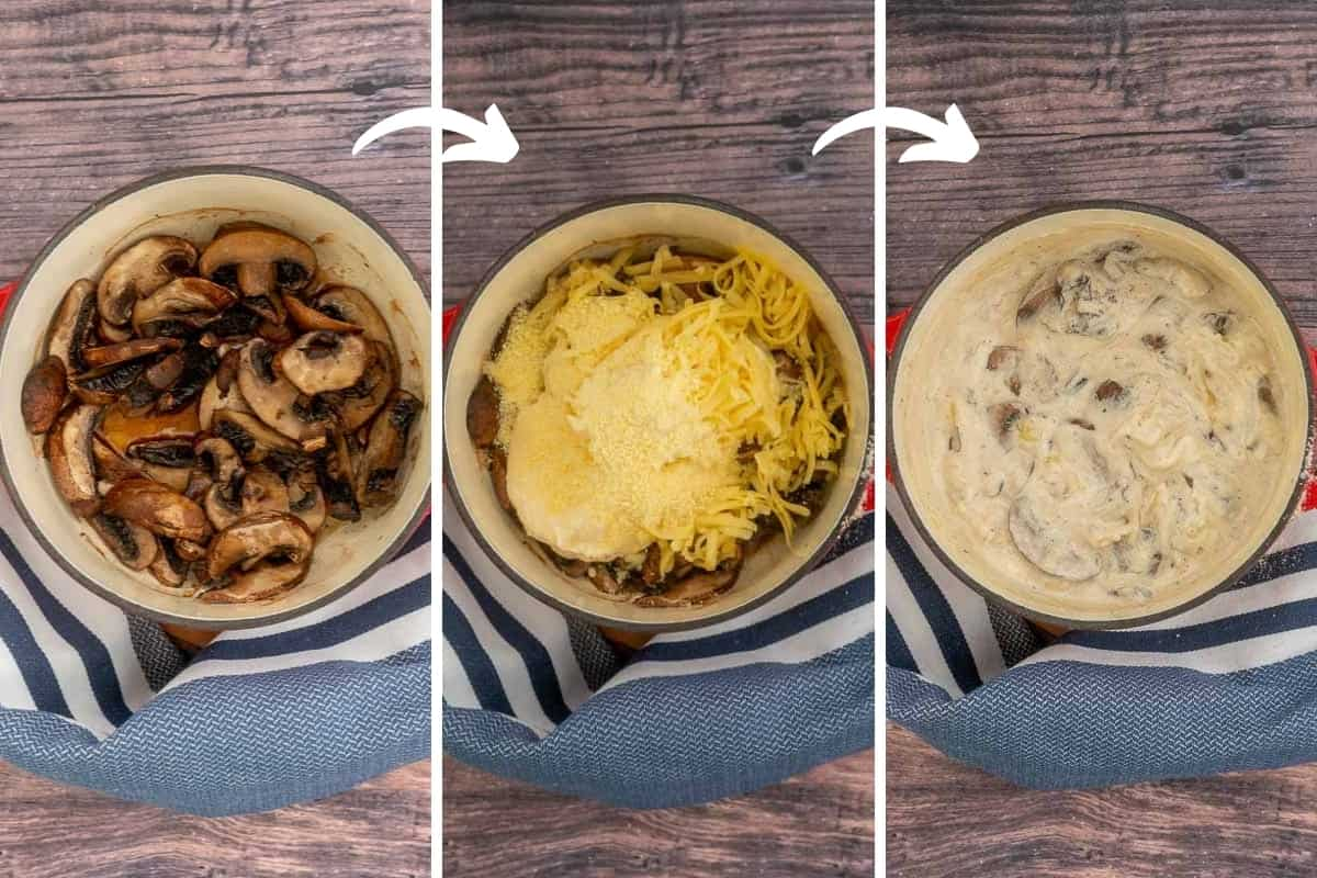 A 3 photo collage showing the steps to making mushroom dip