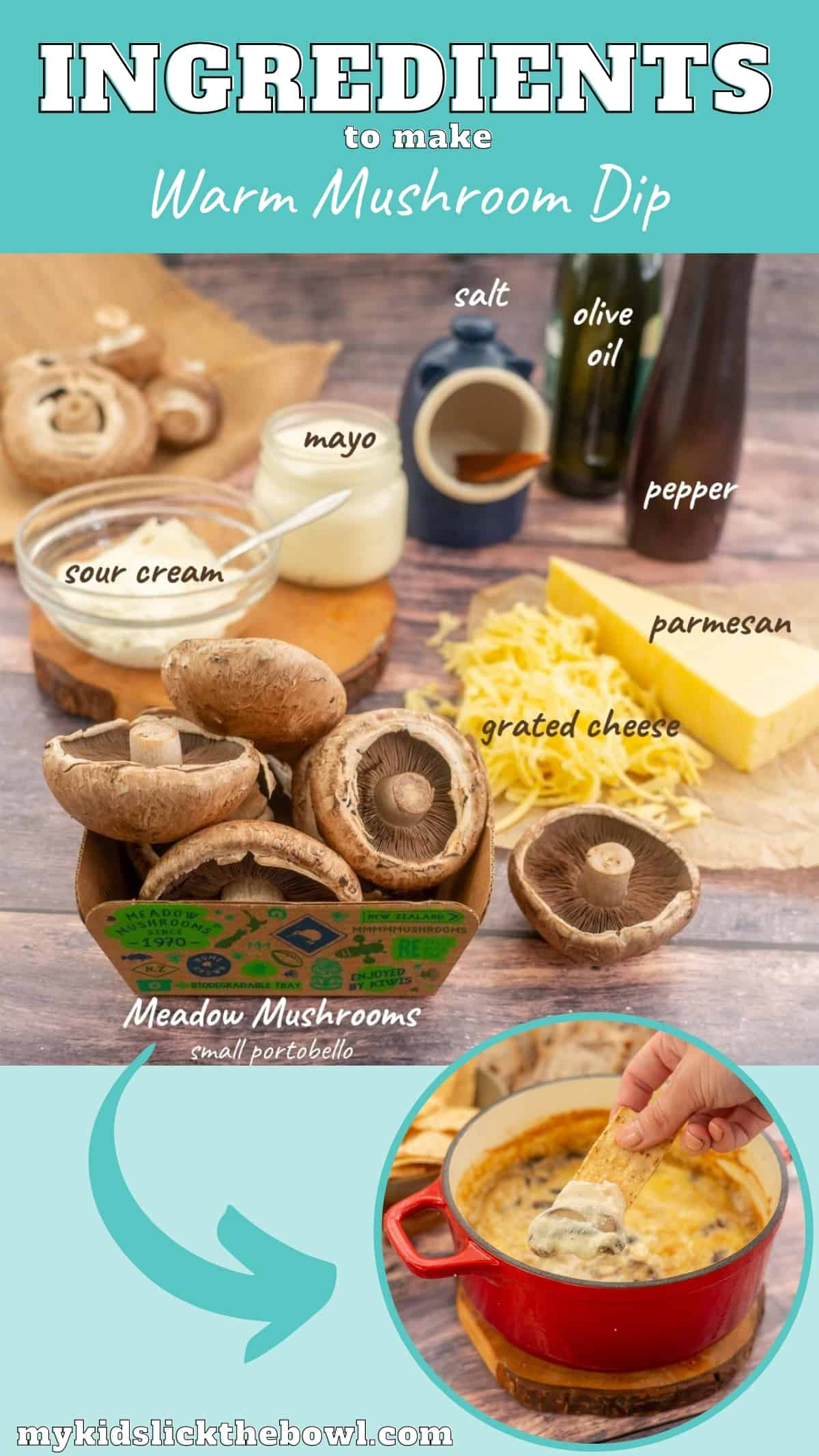 The ingredients to make cheesy mushroom dip on a wooden table with text overlay.
