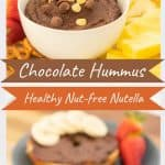 """A two photo collage of chocolate hummus dip with text overlay, 'chocolate hummus healthy nut-free Nutella""""."""